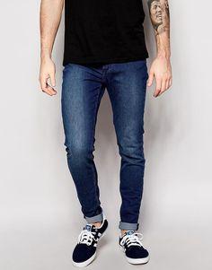 Cheap Monday Mens Super Skinny Fit  Stretch Jeans Him Spray Mid Blue W 34 - L32