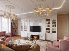 Фото дизайн гостиной из проекта «Дизайн четырёхкомнатной квартиры 200 кв.м. в классическом стиле, ЖК «Премьер Палас»»