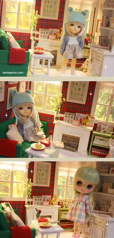 ♥ NEW DIORAMA WINTER WARM Living Room ♥ For around 16 cm doll like Lati yellow, Middie Blythe, Puki fee , odeco and nikki , licca , en...