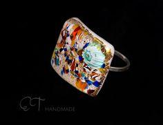 Anello in vetro bianco con l'oro di ET handmade glass jewelry and more su DaWanda.com