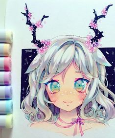 New Design Art Drawing Doodles Creative 54 Ideas Copic Drawings, Anime Drawings Sketches, Anime Sketch, Kawaii Drawings, Cute Drawings, Marker Drawings, Copic Marker Art, Copic Art, Copic Markers