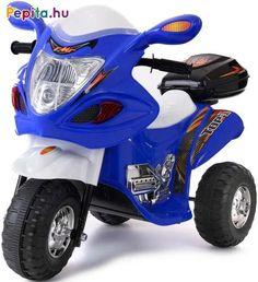 Vagány megjelenésű, Funfit Kids 3 kerekű elektromos motor, amellyel gyerkőcöd száguldozhat pont, mint a nagyok! Kialakításának köszönhetően használata nagyon kényelmes. A szuper száguldozást a hang-és fényeffektek fokozzák tovább, melyek biztos, hogy minden gyerkőc tetszését azonnal elnyerik. A motor hátulján egy kis tároló is helyet kapott, így gyerkőcöd a számára legfontosabb apróságát magával viheti a nagy utakra!    Jellemzői:  - Két fokozat (1 előre és 1 hátra)  - 6V 4.5Ah akkumulátor… Dickie Toys, Motorcycle, Vehicles, Ebay, Products, Motors, Tricycle, Police, Motorcycles