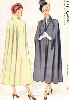 Late 1940s ELEGANT Shawl Collar Cape Coat Pattern McCall 7179  Stunning Design Day or Evening  Medium Size Vintage Sewing Pattern