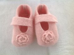 Felted baby bonnet and booties set