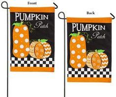 Burlap Pumpkin Patch 2 Sided Polka Dot Garden Flag