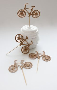 25 Glittery Golden Bicycle Cupcake Toppers by InvitingVivian, $15.75