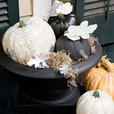 Black and Book Page Pumpkins - Elegant Evening Halloween Party in Black and White from Better Homes and Gardens