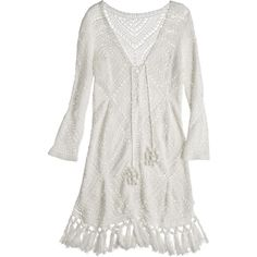 CALYPSO St. Barth Perfa Hand Crochet Cotton Tunic Dress ($439) ❤ liked on Polyvore featuring dresses, white, white slip dress, white slip, cotton slip, boho crochet dress and white crochet dress