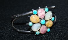 Vintage Barse Sterling Silver Quartz Turquoise Flower Bracelet Cuff Mother of pearl Real Gems by Savesitall on Etsy