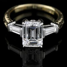 1.50 Ct GIA Flawless Emerald Cut Diamond Engagement Ring 18K Gold by TheRightSource1 on Etsy