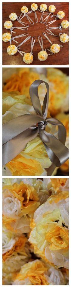 6 inch wide rose pomander flower balls. wedding decoration. custom orders welcome. www.Psalm117.Etsy.com