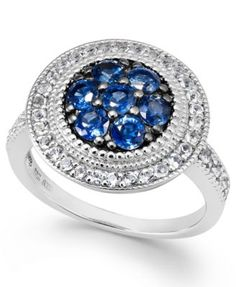Blue (1-1/10 ct. t.w.) and White (3/8 ct. t.w.) Pave Ring in Sterling Silver