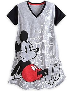 Disney Store Mickey Mouse Womens Nightshirt Pajamas XL XXL Grey Disney Pjs b450d0256
