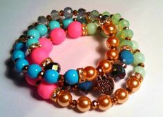 Pastel Beaded Bracelet set by RandRsWristCandy on Etsy, $8.00