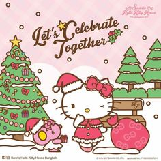 Hello Kitty / Let's Celebrate Together Hello Kitty House, Hello Kitty My Melody, Hello Kitty Items, Sanrio Hello Kitty, Hello Kitty Christmas, Merry Little Christmas, Xmas, Hello Kitty Drawing, Hello Kitty Pictures