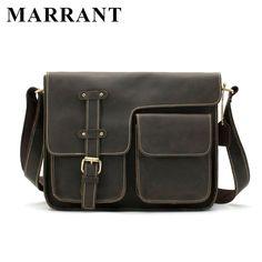 MARRANT Crazy Horse Genuine Leather Men Bag Men Messenger Leather Bag Han... New #BrandNameMARRANT