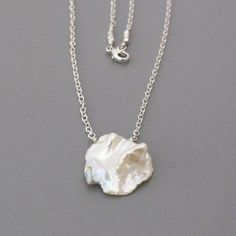 Huge White Keishi Pearl Sterling Silver Chain Necklace by DJStrang