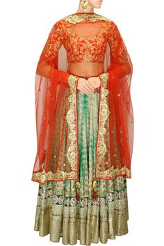 GREAT LENGTHS : Green shibori brocade lehenga with red embroidered blouse and dupatta by Vikram Phadnis. Shop at www.perniaspopups... #designer #indian #vikramphadnis #couture #fashion #shopnow #perniaspopupshop #happyshopping