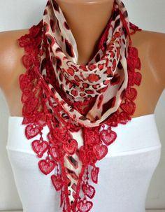 ON SALE  50 OFF Valentine's Day  Red  Scarf  Heart by fatwoman, $8.50