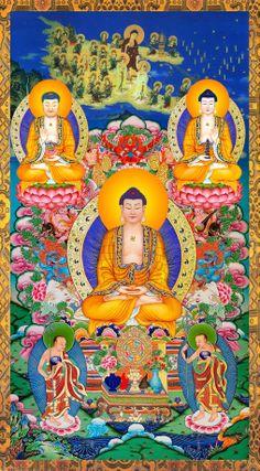 Amitabha Buddha │ 阿彌陀佛 Buddha Temple, Buddha Art, Tibetan Art, Tibetan Buddhism, Amitabha Buddha, Gautama Buddha, Vajrayana Buddhism, Thangka Painting, Guanyin