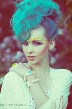 Blue green hair and yellow candy makeup by Kim Akrigg