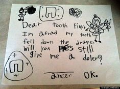 look 15 incredible letters to the tooth fairy
