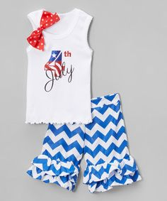 This White 'July 4th' Tank & Blue Shorts - Infant, Toddler & Girls is perfect! #zulilyfinds