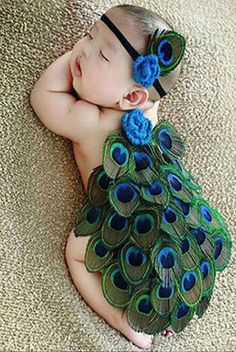 CCA88 Peacock Feather Newborn Baby Outfit With Headband Photo prop