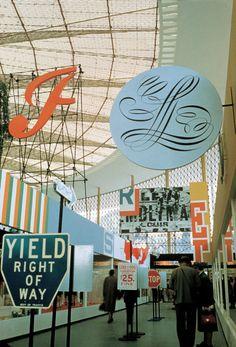 "typeverything: ""Typeverything.com - Streetscape, U.S. pavilion, Brussels World's Fair by Chermayeff & Geismar Associates, New York, New York, 1958 (Via Riley Cran) """