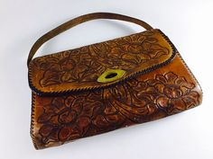 Vintage Leather Tooled Purse Boho Hippie Bag Retro Flower Floral Handbag - pinned by pin4etsy.com