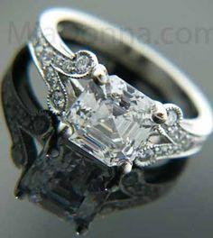 Vintage Wedding Rings  Princess cut vintage wedding rings -bridesmine.com