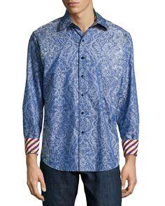 Tonal Floral-Print Sport Shirt, Blue, Men's, Size: XXX-LARGE - Robert Graham