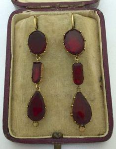A Stunning Pair Of Georgian Garnet Drop Earrings Circa Jessica Gillespie Garnet Jewelry, Royal Jewelry, Garnet Earrings, Drop Earrings, Silver Jewellery, Dress Jewellery, Jewelry Armoire, Antique Jewelry, Vintage Jewelry