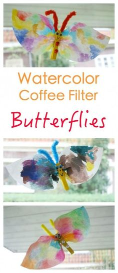 Coffee Filter paper is such a good medium to paint watercolors onto. The colors come up super bright! These butterflies are so easy to make, a great kids craft project!
