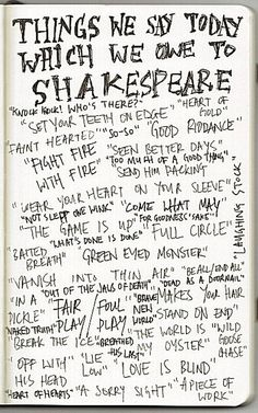 Things we say today which we owe to Shakespeare...