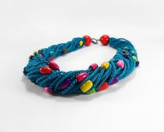 Crochet Necklace Teal Blue by Smalkumi on Etsy, $36.00