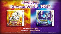 Pokémon Sun y Pokémon Moon para Nintendo 3DS serán lanzados el 18 de Noviembre.