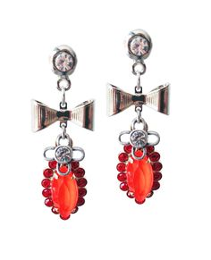 Dangle and drop earrings with orange crystals  #pearls #jewelry #crystal #statement #silver #men #drop #necklaces #handmade #gold