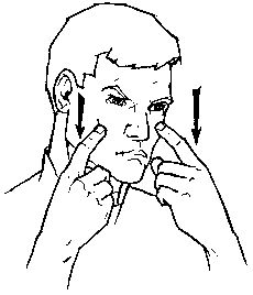 "cry- The sign for ""cry"" is made by placing one or both index fingers under your eyes."