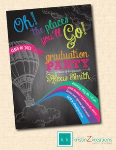 The Places You'll Go color chalkboard by kristinZkreations on Etsy, $15.00