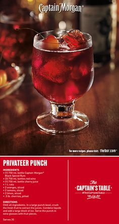 Gather around for cherry-infused Captain Morgan® Privateer Punch. It's an easy party cocktail that's delicious for all! #drinkrecipe #drinks #TheCaptainsTable