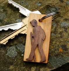 Hiker Keychain made of salvaged walnut and cherry woods