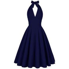 Backless Plunge Halter Vintage Skater Party Dress (€29) ❤ liked on Polyvore featuring dresses, halter top, blue halter dress, backless skater dress, blue dress and vintage cocktail dresses