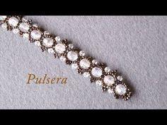 # DIY - Pulsera de perlas acrilicas mostacillas y tupis - YouTube