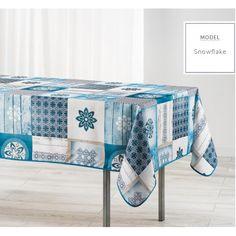 Modrý kuchyňský ubrus s motivem vloček Linens