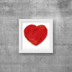 Coeur rouge techniques mixtes St-Valentin dessin par AuxOiseaux