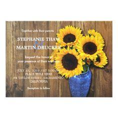 Rustic Sunflower Wedding Invitation - invitations custom unique diy personalize occasions