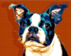 Boston Terrier Cross Stitch Pattern ( Printable PDF ) - Immediate Download from Etsy