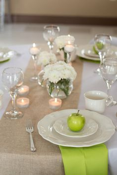 Green Apple Wedding Party!  See more party ideas at CatchMyParty.com!