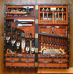 10 Insane Ideas Can Change Your Life: Unique Woodworking Tools Ideas woodworking tools workshop couple.Essential Woodworking Tools Types Of woodworking tools workshop workbenches.Old Woodworking Tools Posts. Woodworking Tool Cabinet, Woodworking Tools For Sale, Essential Woodworking Tools, Woodworking Workbench, Woodworking Furniture, Woodworking Projects, Grizzly Woodworking, Unique Woodworking, Woodworking Classes